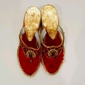 Hand Made Red & Gold Jeweled Sandals Slippers
